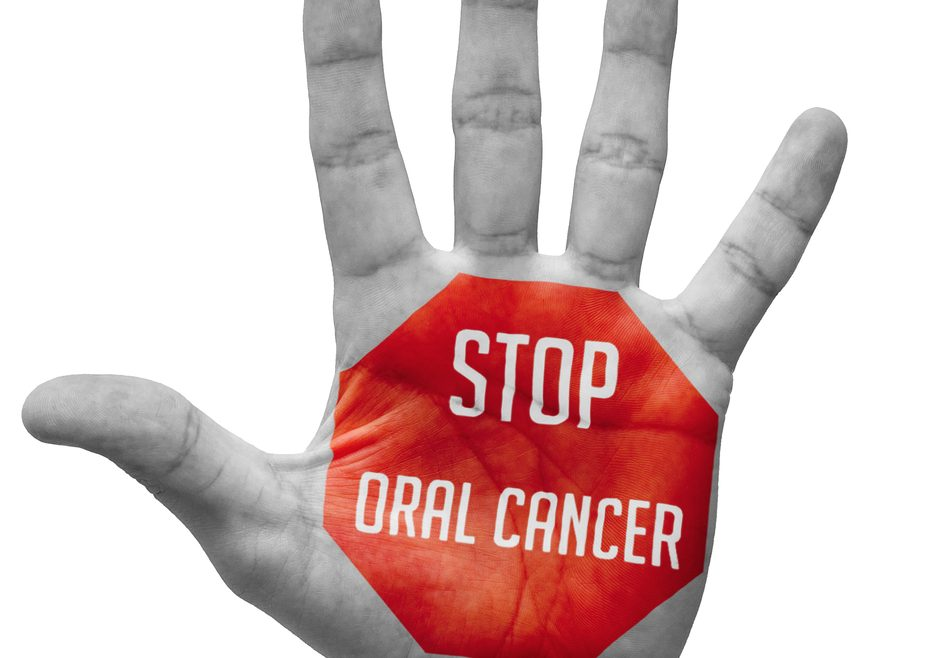 A hand with a message saying STOP oral cancer. If in doubt about mouth cancer, get checked out at Oakwood Dental Practice in Southampton, for your own peace of mind.
